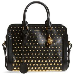 Alexander McQueen 'Small Padlock' Leather Duffel Bag (9.960 RON) ❤ liked on Polyvore featuring bags, luggage and black