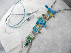 Freeform loom woven necklace in linen, silk and silver with Turquoise and Hematite -  manufabrica on Etsy