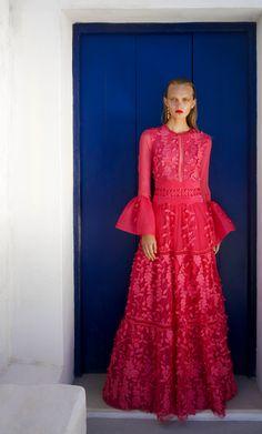 CHRISTOS COSTARELLOS Floral Appliqué Long A-Line Dress, Fuchsia