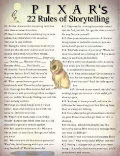 22 rule, storytelling, pixar rule, book, creative writing