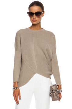 Stella McCartney Asymmetric Wool Jumper in Pebble