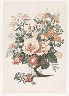 Anonymous | Stenen vaas met bloemen, Anonymous, Jean Baptiste Monnoyer, Johan Teyler, 1688 - 1698 | Stenen vaas met bloemen. Naast de vaas een takje met een bloem.