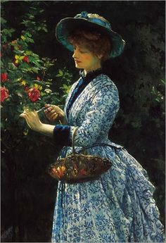⊰ Posing with Posies ⊱ paintings of women and flowers - Robert James Gordon - Pruning Roses Pruning Roses, Spanish Dress, 1880s Fashion, Victorian Art, Victorian Paintings, Victorian Women, Classic Paintings, Art Themes, My Secret Garden