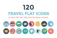 120 Travel Flat Icons by Creative Stall on Creative Market