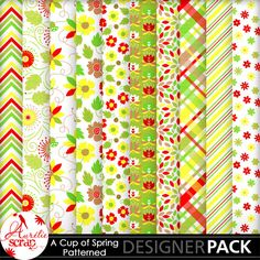 "Patterned Papers ""A Cup Of Spring"" by Aurélie Scrap. Colors which bring up spring... It contains : 10 patterned papers"