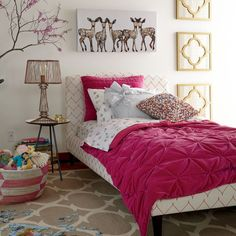Woodland theme - love hot pink and gold