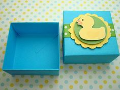 Rubber Ducky Favor Boxes, Blue and Green, Set of Ten