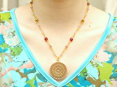 Handmade jewelry pendant necklace boho stained glass by Aya1gou, $35.00