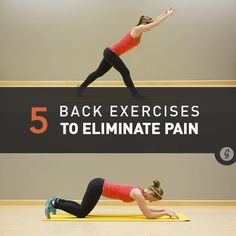Back Exercises: There are several simple moves that (when practiced often) can reduce and eliminate low back pain by helping prevent weakness from inactivity and improving the body's ability to tolerate activity as you get older. Killer Workouts, Toning Workouts, Fitness Workouts, Fun Workouts, Fitness Tips, Health Fitness, Tabata Cardio, Muscle Fitness, Fitness Quotes