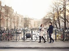 Beautiful glow in Amsterdam, Netherlands for destination film Engagement Photographs by Maitha Lunde