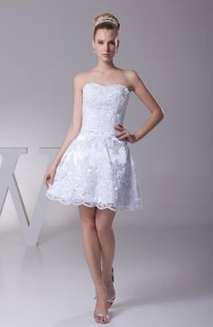 Casual Hall Sweetheart Sleeveless Lace up Short Lace Bridal Gowns