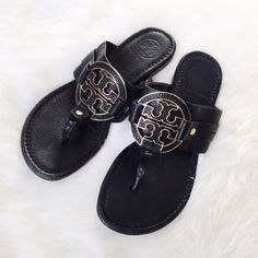 Tory Burch • Black Amanda Sandals Pre-loved! Still in good condition with some light wear as shown in the photos. Make me an offer!  ❌No trades ❌No PayPal ❌No asking for the lowest price Tory Burch Shoes Sandals