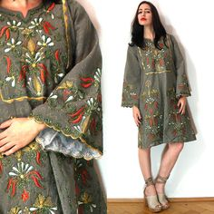 Vtg Kimono Ethnic Embroidery Mexican MIDI Dress Festival Gown 70s Poncho Hippie | eBay