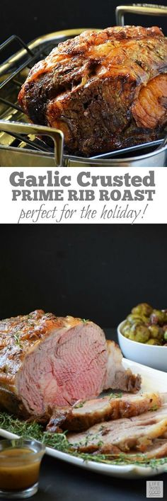 Garlic Crusted Prime Rib Roast | by Life Tastes Good with a buttery soft texture on the inside and a crisp garlicky outside melts in your mouth like a luscious piece of chocolate! I just want to savor the glorious flavor as long as possible. It tastes so good and is exactly why I always serve my Garlic Crusted Prime Rib Roast for our Christmas dinner. /search/?q=%23LTGrecipes&rs=hashtag /search/?q=%23SundaySupper&rs=hashtag /search/?q=%23RoastPerfect&rs=hashtag @certangusbeef