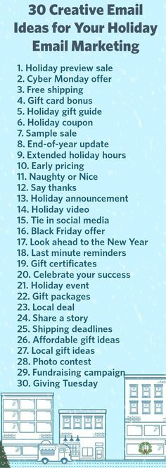 As you start to plan your holiday email marketing, you'll want to think of ways to make your emails stand out during this busy season. To help you get started, we compiled a list of 30 creative holiday email ideas: - My DIY Tips E-mail Marketing, Marketing Digital, Marketing Na Internet, Marketing Website, Email Marketing Strategy, Business Marketing, Content Marketing, Affiliate Marketing, Online Marketing