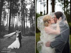 Woodsy Wedding at the Tacoma Sportsmens Club photographed by local Tacoma Wedding Photographer, Rebecca Anne Photographer. #woodsywedding #rainywedding #bride #groom #veil