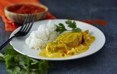 Curry d'agneau au lait de coco #AuchanEtMoi #auchan Thai Red Curry, Grains, Chicken, Meat, Ethnic Recipes, Food, Lamb Curry, Deep Dish, Indian Recipes