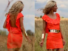 Neon ruffle dress