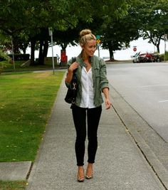 olive jacket, white vneck tee black skinnies and animal print flats