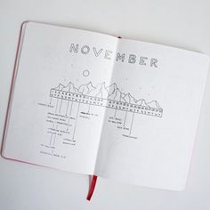 mochibujo Monthly view for November! Sticking with the mountain theme. Some of the mountains here in Salt Lake are already white with snow! // #bujo #bulletjournal #journal #planner #planneraddict #journaling #minimal #mountains #minimalist #monthly #monthlyview #calendar // Layout inspired by the amazing @bumblebujo