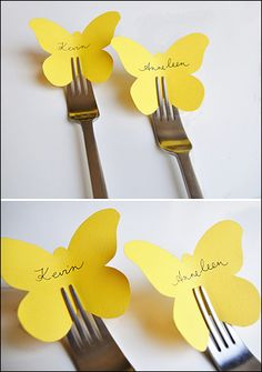 love this idea for place cards but with a butterfly phobia i doubt i would use those specific cut outs! hahalove this idea for place cards but with a butterfly phobia i doubt i would use those specific cut outs! Butterfly Place, Butterfly Cutout, Simple Butterfly, Butterfly Table, Butterfly Party, Butterfly Wedding Theme, Festa Party, Party Party, Paper Crafts