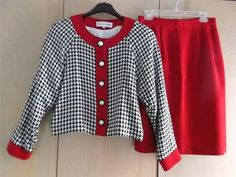 Vintage Retro~Sara Campbell B/W Houndstooth Short Jacket~Red Trim~Skirt Suit 12