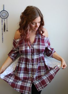 a08926d9ce995 White Maroon Plaid Flannel Lace Open by MountainGirlClothing Reuse Clothes
