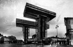 Horizontal Skyscraper Project (Wolkenbugel), 1925 Design by El Lissitzky Dynamic Architecture, Russian Architecture, Architecture Tattoo, Amazing Architecture, Steel Frame Construction, Steven Holl, Urban Fabric, Perspective Drawing, Photocollage