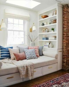 46 The Best Family Living Room Decoration Ideas - Window benches - Home Decor Bedroom, Living Room Decor, Bedroom Ideas, Bedroom Nook, Diy Bedroom, Day Bed Living Room, Window Seats Bedroom, Bedroom Furniture, Bedroom Seating