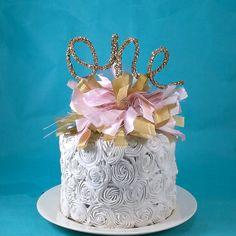 Cake banner smash cake  pink gold birthday by Hartranftdesign