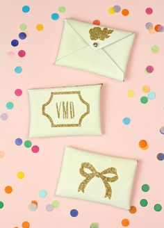 DIY Gold Glitter Monogram Business Card Holders! ⋆ Brite and Bubbly