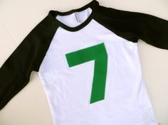Hey, I found this really awesome Etsy listing at https://www.etsy.com/listing/122686017/green-7-on-black-and-white-baseball