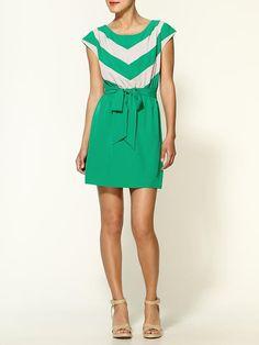 green chevron striped dress