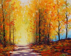 YELLOW autumn PAINTING Golden fall trees Painting art road trail wall decor Graham gercken