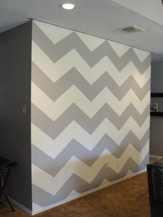 DIY Painted Chevron Wall | I will be doing this when I have a house.