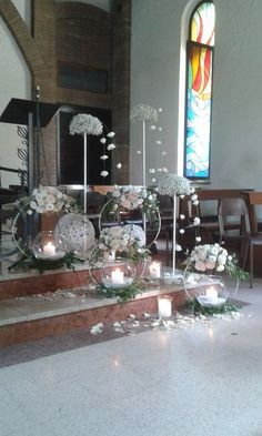 white church decor - New sites Church Wedding Decorations, Table Decorations, Rustic Wedding, Our Wedding, Wedding Dresses, Decoration Evenementielle, Church Flowers, Floral Hoops, Diy Centerpieces