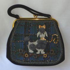 Vintage 1950's Mid Century Embellished Rhinestone Beads Poodle Purse HandBag #Baguette