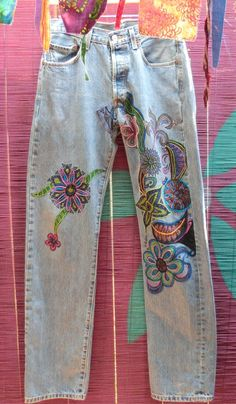 Vintage Levi's 501s hand painted and embroidered by Babylon Sisters.