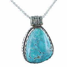 Rare Blue Carico Lake Turquoise Pendant Necklace 1 by NewWorldGems