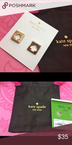 "Gold Kate Spade ""Spade"" Post Stud Earrings NEW New on card only in KSNY dust bag. Sorry, no trades! Discounts with bundles! 🎀 kate spade Jewelry Earrings"
