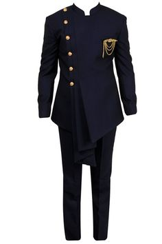 Navy blue draped bandhgala with trousers Mens Casual Dress Outfits, Blazer Outfits Men, Dress Suits For Men, Stylish Mens Outfits, India Fashion Men, Nigerian Men Fashion, Indian Men Fashion, Mens Fashion Suits, African Wear Styles For Men