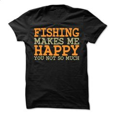Fishing Makes Me Happy T-Shirt - #fitted shirts #girl hoodies. PURCHASE NOW => https://www.sunfrog.com/Fishing/Fishing-Makes-Me-Happy-T-Shirt.html?id=60505