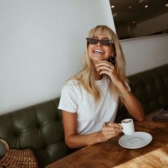 Nothing better than espressos and big smiles. wearing the Stones Tee. White Sunglasses, Cat Eye Sunglasses, Round Sunglasses, Summer Sunglasses, Minimal Fashion, Trendy Fashion, Fashion Women, Cat Eyes, Burns
