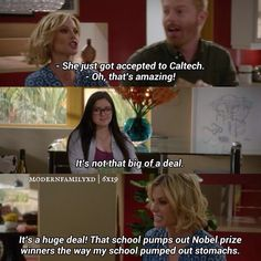 """She just got accepted to Caltech"" - Claire, Mitch and Alex #ModernFamily (by modernfamilyxd)"