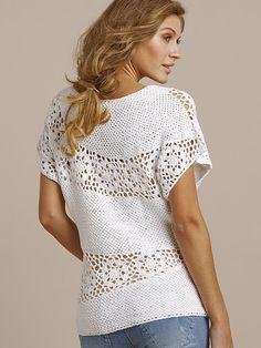 Outstanding Crochet: Crochet white top. Unknown brand.