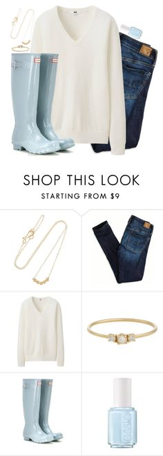 """I need some inspiration--comment your 2 favorite accounts"" by preppy-classy ❤ liked on Polyvore featuring Melissa Joy Manning, American Eagle Outfitters, Uniqlo, Jennie Kwon, Hunter and Essie"