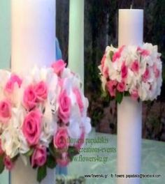 candles decorated with pink and white hortansias by flowers papadakis  tel 00302109426971 info@flowers4u.gr