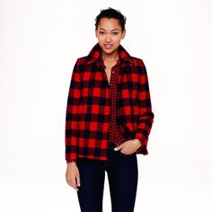 J.Crew Buffalo Check Peacoat Buffalo check peacoat in navy/red. Sold out online! This coat was a very popular item among fashion bloggers. Excellent condition! J. Crew Jackets & Coats Pea Coats