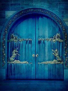 <3 this blue door <3    bluepueblo:    Unicorn Portal, Edinburgh, Scotland  photo via sharon    I am hopeless, for I still believe in Unicorns ~AE