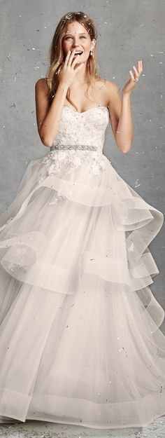 Bliss by Monique Lhuillier Wedding Dresses Spring 2015   -- longer layers at the bottom. But it's what I'm going for.